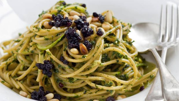 Spaghettini of zucchini, mint, currants, pine nuts and pecorino.