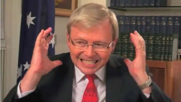 Kevin Rudd fluffing his lines in that video.