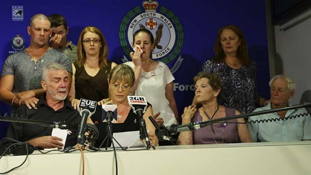 Lynette Bradbury's family appeal for information into her killing. Seated are, from left, her husband Brian Bradbury, ...