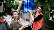 Spectrum. Design story about Japanese tie-dying technique called shibori. Hanging out to dry the final product. Karen ...