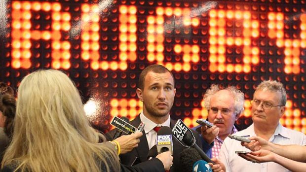 Quade Cooper gives a statement to the media after the disciplinary hearing.