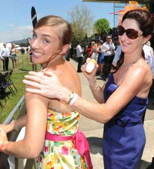 Ellie Potter and Jenny Howe enjoying the sun at Thoroughbred Park in Canberra for last year's Melbourne Cup event.