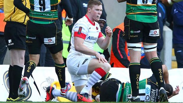 Tackle trouble ... Chris Ashton of Saracens after up-ending Vasily Artemyev.