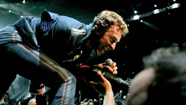 In Sydney ... Chris Martin performs with Coldplay.