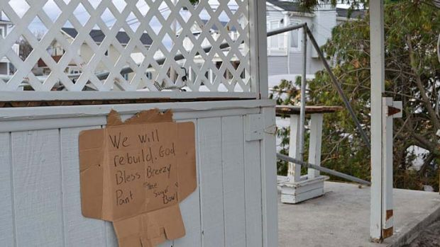 A sign of defiance in Breezy Point.