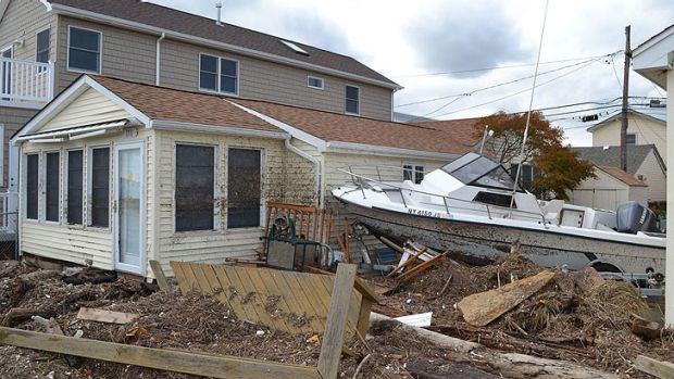 A trail of destruction at Breezy Point.