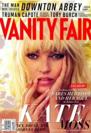 "Kate Moss gets over her ""facial Tourette's"" for the cover of Vanity Fair December 2012 issue."