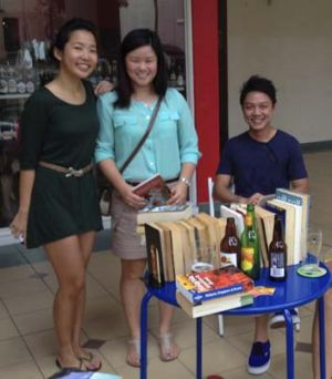 Eileen Lee (from left) and Melissa Lowe . . . the organisers of Books and Beer in Singapore.