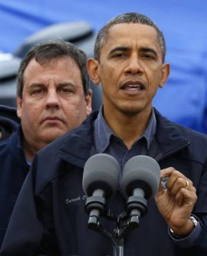 "United in crisis … Christie, left, told reporters he ""cannot thank"" Obama enough."