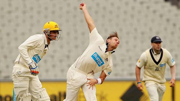 On target: James Pattinson lets fly for the Bushrangers at the MCG.
