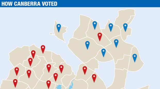 Polling booths in suburbs marked blue had a higher proportion of Liberal voters and those marked red had a higher ...