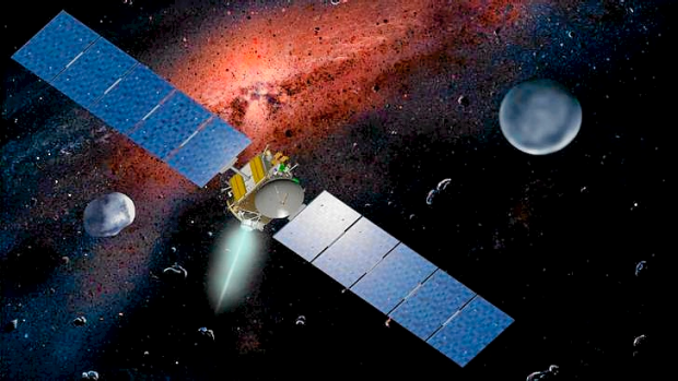 This undated artist concept released by NASA and the Jet Propulsion Laboratory shows the Dawn spacecraft with Ceres and ...