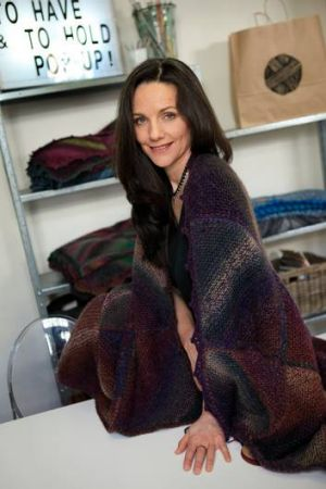 Jennifer Saunders' blanket designs play with geometric patterns and subtle lines of colour.