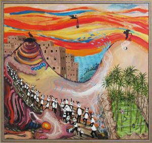 A painting from Fergus Binns' <i>Ali Baba Squinting and the Watership Wind Band</i> exhibition.