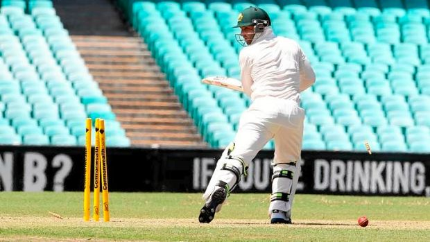 Death rattle ... Phillip Hughes is bowled by Rory Kleinveldt.