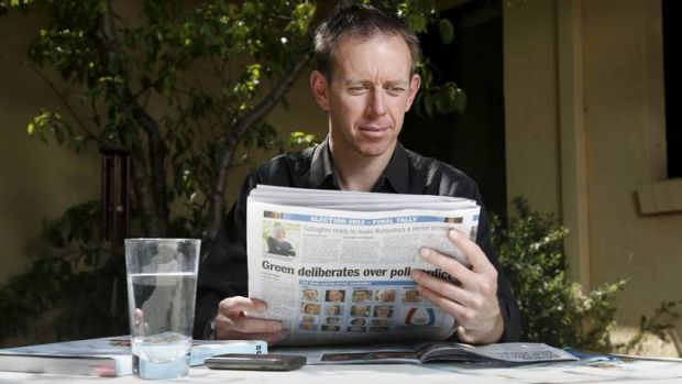 Greens MLA Shane Rattenbury at his Braddon home.