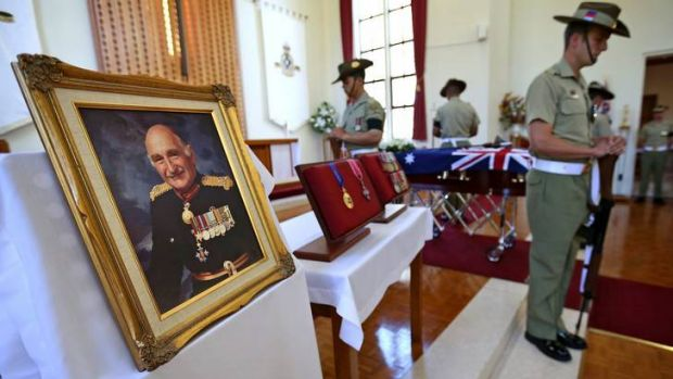 The funeral of Major General Alan Stretton at the Royal Military College Chapel in Canberra.