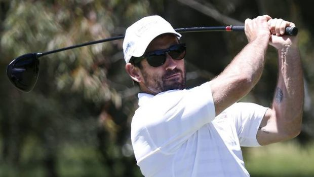 Andrew Johns teeing off at  the Terry Campese Foundation Golf Day at Federal.