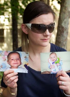 Heartbreak ... Sandra Bernobic with photos of her son, Elijah Slavkovic.