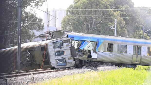 Scene of a collision between a train and a semi-trailer in Dandenong South.