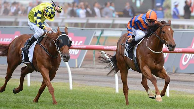 Vlad Duric on Fontelina (right) streaks away to win the Yellowglen Stakes.