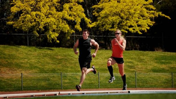 Ben Lisson and Melissa Breen train at the AIS this week.