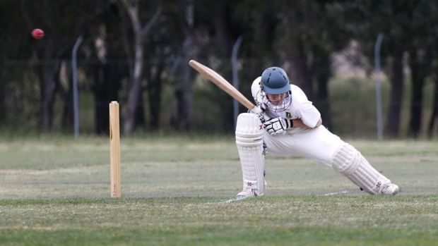 Weston Creek batsman Elliot Morschell ducks a bouncer against Eastlake.