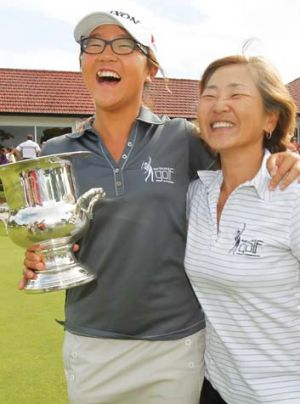 Girl wonder … Lydia Ko celebrates with her mother after winning the NSW Open in January.