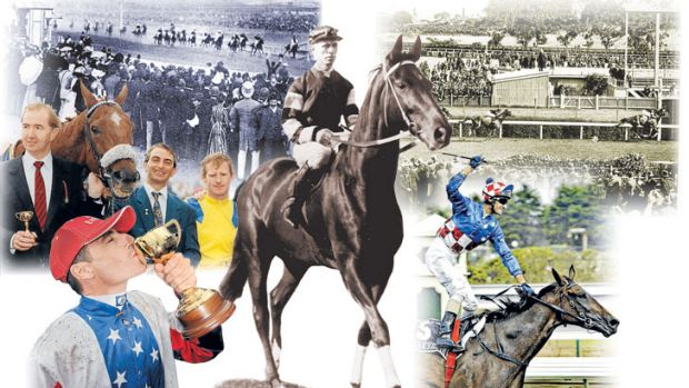 Through the years: A lot has changed since the great Australian stayer Carbine (clockwise from top left) won the ...