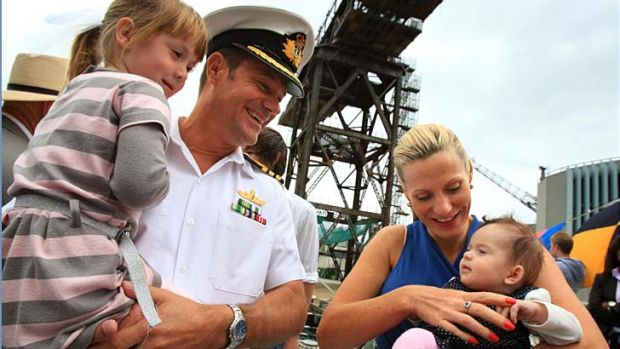 Most deserving ... the Schlegel family at the launch of the Defence Family Pin at Garden Island on Saturday.