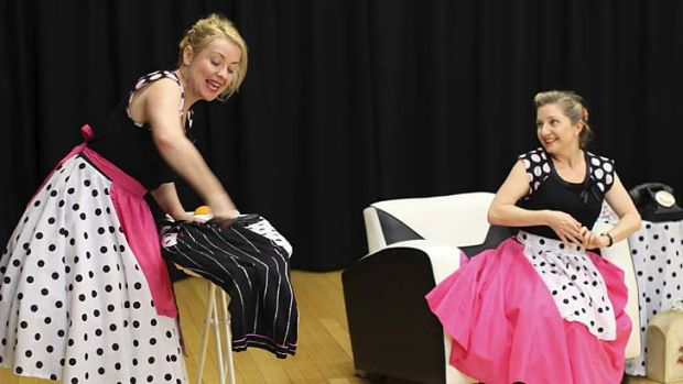 Cheap laughs ... Lucy Miller, left, plays sidekick to Deborah Thomson, who makes light of her travails.