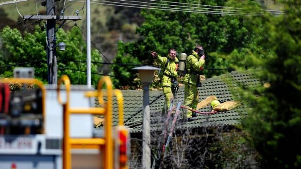 ACT Fire brigade at the scene of a house fire on Springbett Street, Kambah.