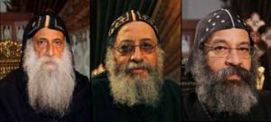 Hopefuls ... Raphael Ava Mina, Bishop Tawadros and Bishop Rafael.