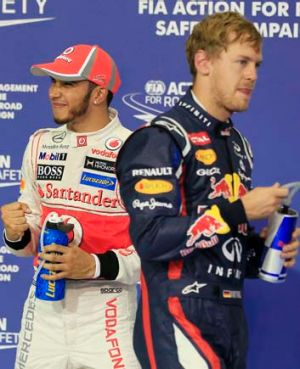 Lewis Hamilton, left, and Sebastian Vettel.