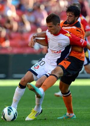 Thomas Broich of the Roar was penalised for this challenge on Dario Vidosic of Adelaide.
