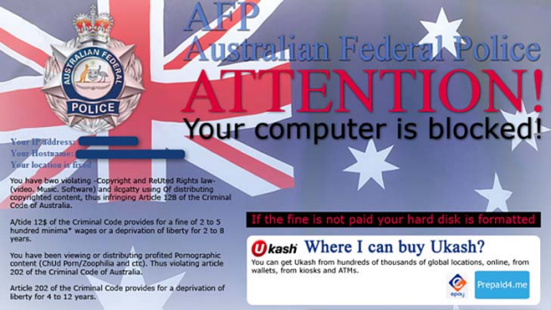 Ransomware ... another screengrab of what it looks like.