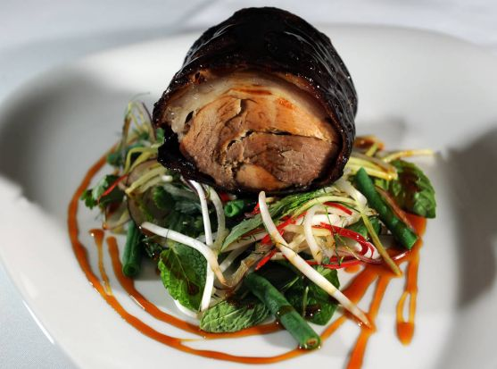 10. Pork Hock, with chilli caramel and spicy thai beanshoot salad, from Ezard.