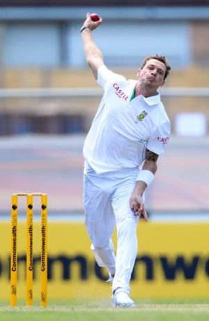 South African fast bowler Dale Steyn in action against Australia A.