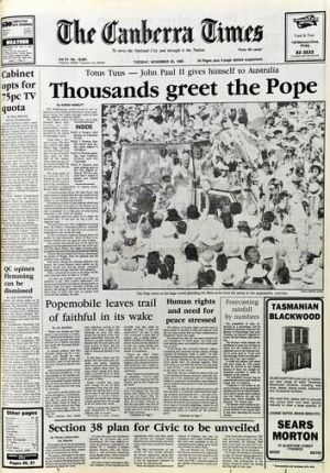The front page of <i>The Canberra Times </i> from the  Pope's visit in 1986.