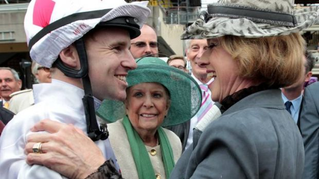 Gai Waterhouse congratulates jockey Tommy Berry after Glencadam Gold won at Randwick in October.