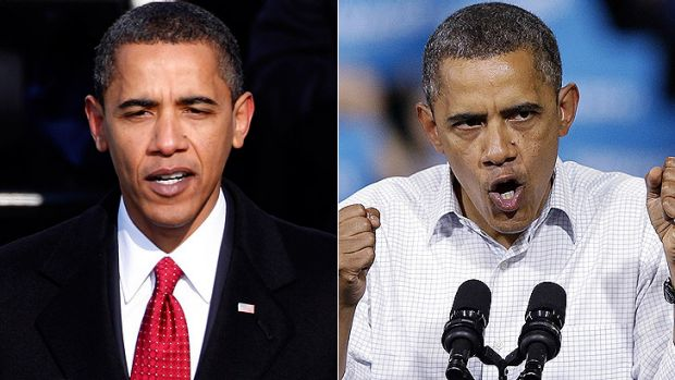 Then and now ... Barack Obama at his inauguration, left, and at a campaign rally this week.