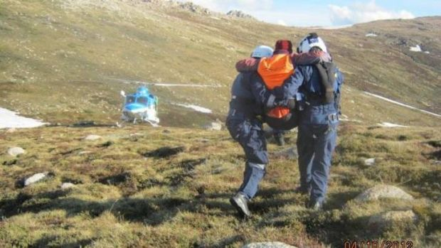 Bruce Wharrie and Marg Hayes, of Jindabyne, were about 1.5 kilometres south of Mount Kosciuszko Mr Wharrie fell forward ...