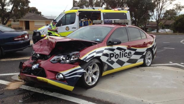 A police patrol car was extensively damaged in a crash in Belconnen this morning.