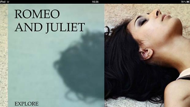 A screenshot of the <em>Romeo and Juliet</em> iPad app.