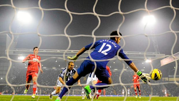 Peter Odemwingie of West Bromwich Albion scores his team's second goal.