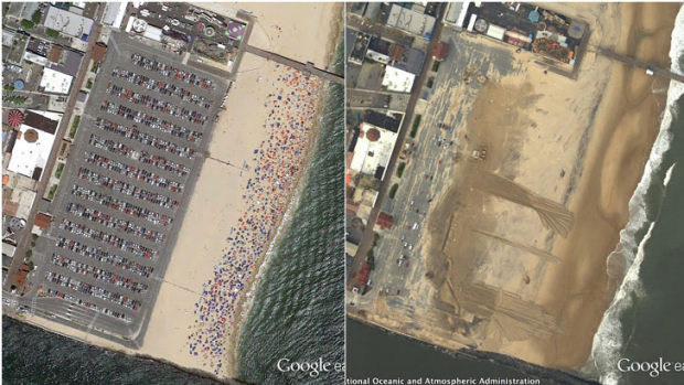 Ocean City, Maryland, before and after.