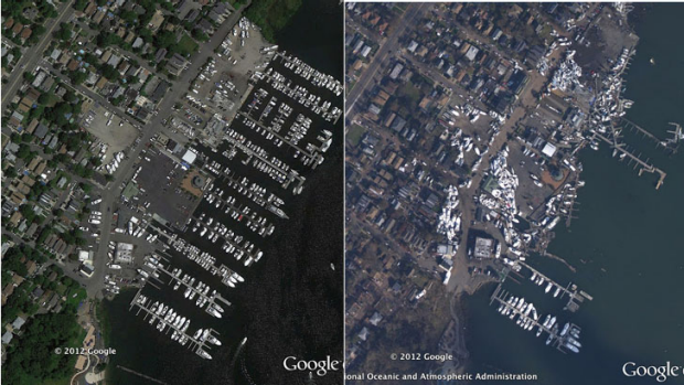 New York City borough Staten Island before, left, and after Sandy hit.