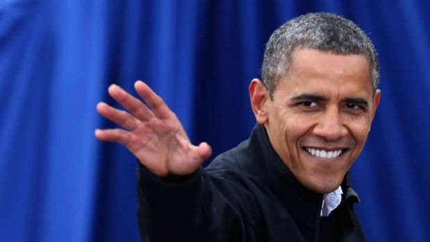US President Barack Obama showing some grey hairs on the campaign trail.