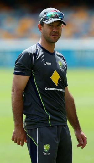 Ricky Ponting looks on during a training session at the Gabba.