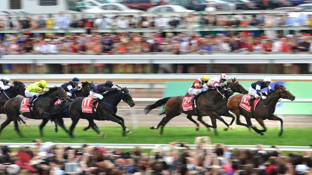 Low flying: Green Moon surges to the line in the Melbourne Cup.